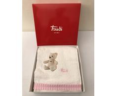 Set Asciugamani 1 +1 Trudi Cremino Bianco Rosa Coppia Asciugamano + Ospite Spugna con Applicazioni e Ricamo Gabel