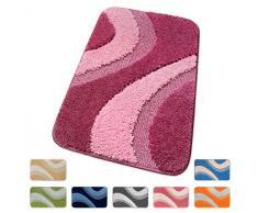 TAPPETO BAGNO shaggy ANTISCIVOLO moderno VARIE MISURE tappeti casa bordato SCENDILETTO SCENDI DOCCIA 100% MADE IN ITALY mod.EVIA (PORPORA (P), 80 Centimetri)
