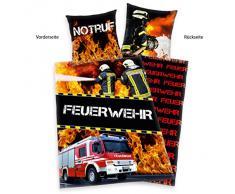 Herding 445933050 Biancheria da letto Feuerwehr (pompiere), federa 80 x 80 cm con copripiumino singolo : 135 x 200 cm, 100 % cotone, rinforzo