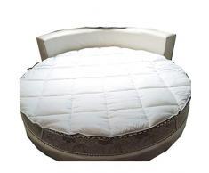 qwqqaq Addensare Rotondo Letto Materasso,Traspirante Materasso Topper con Non Slip Bottom Quilting Ultra Morbida Materassino per Lhotel A 220x220cm(87x87inch)