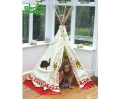 Garden Games Teepee Wigwam - Tenda da gioco per bambini, tela 100% cotone, altezza ca. 150 cm, adatto per utilizzo interno ed esterno