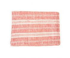 LinenMe 100 x 137 cm asciugamano da bagno in lino multistrisce, rosso/bianco