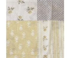 Just Contempo - Tende plissettate, stile shabby country chic, motivo: patchwork di fiori, 168 x 183 cm, Policotone, Lemon ( Yellow Grey Cream ), 168 x 183 cm, coppia di tende