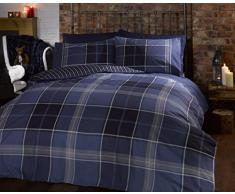 Argyle King Size trapunta copripiumino e 2 federa reversibile set di biancheria da letto, con motivo scozzese – blu