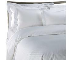 Lofty Sheets - Set da 7 pezzi super king size di biancheria da letto con piumino e lenzuola, 100% cotone egiziano a 800 fili, a righe, colore: avorio