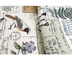 Copriletto Birdy 230 x 250 cm uccelli farfalla autunno Vintage Plaid Quilt Trapunta