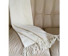 Woll plaid, coperta, copriletto, coperta con cashmere cotone 135 x 190 cm