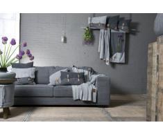 Knit Factory 101115 - Coperta lavorata a maglia Plaid Aran, 130 x 160 cm grigio