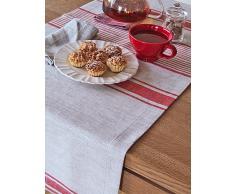 LinenMe 1-Piece 50 x 128 cm runner da tavolo in lino Provance, colore rosso