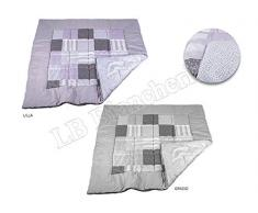 Lovely Home - Trapunta Invernale Piumone letto Matrimoniale 2 Piazze In Microfibra ROUGE Patchwork Provenzale Country GRIGIO cm 260x260