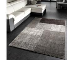 PHC - Tappeto Di Design Moderno / Tappeto a Quadri / Miscela Marrone Crema, Misure: 60x110 cm