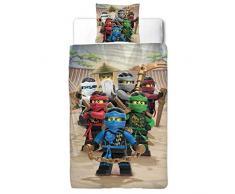 LEGO Ninjago - Set di biancheria da letto per bambini in flanella, 2 pezziMisure tedesche standard: 80 cm x 80 cm + 135 cm x 200 cm, 100% cotone.