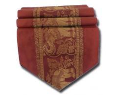 Runner da tavola in elegante seta tailandese, motivo: elefanti, colore: Rosso.