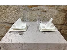 """BgEurope, tovaglia di lusso color argento con trattamento anti-macchie, dimensioni grandi, Design con fantasia di linee., 20% poliestere/80% cotone/ cotone/poliestere, Silver, 6 NAPKINS 18 x 18"""" (45 x 45cm)"""