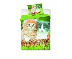 Jerry Fabrics jf0168 – Set biancheria letto Cats 2016, Cotone, 140 x 200 cm + 70 x 90 cm