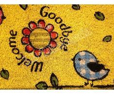 """Lovely Home - Zerbino tappeto in cocco colorato """"Uccellini"""" - Fondo antiscivolo - cm 40x70"""