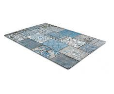 LIFA LIVING Tappeti da Salotto Moderno in ciniglia, Tappeti di Design a Quadri (Azzurro Grigio, 160 x 230 cm)