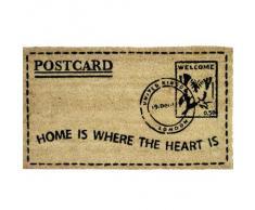 """JVL - Tappetino per ingresso in fibra di cocco con rivestimento posteriore in PVC, motivo francobollo con scritta """"Home Is Where The Heart Is"""", 40 x 7 cm"""