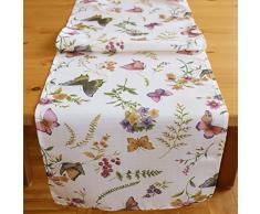 """Eccellente Serie """"Farfalle sul prato in fiore"""" su sfondo color crema dalle delicate tonalità pastello. Un gioiello per ogni spazio. Possibilità di scelta tra coperte tovaglie, runner da tavola e federe di KAMACA-SHOP, Poliestere,"""