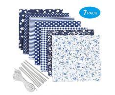 Tessuto Cotone kit da cucito 7 PCS, stoffa patchwork a metro con striscia clip di ponte di naso di corda elastica, fogli di tessuti con materiale floreale per scrapbooking Cucire fai da te creativo