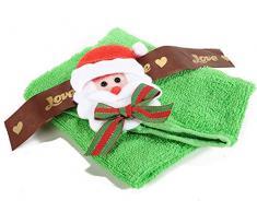 6 Asciugamano Cotone c/Decoro Babbo Natale in Scatola Regalo