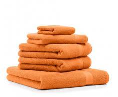 Arancio tangerino Linenme 33 x 50 cm Set di 2 Asciugamani per Ospiti Lara