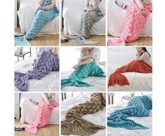 sirena coperta coda di pesce coperta di lana a maglia quattro stagioni regalo di compleanno coperta , E , 195x90cm