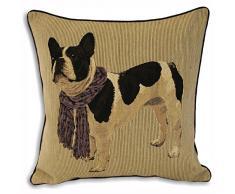 Riva Home - Frenchie French Bulldog - Fodera Copri Cuscino (45x45cm) (Viola)
