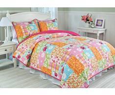 1001 Wohntraum 17jn30 Quilt Rosalie fiori, 180 x 220 cm, Plaid Copriletto, coperta Patchwork Vintage Shabby, Multicolore