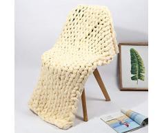 WAWEN fatto a mano lana grossa mano enorme coperta di lana a maglia sofa Pet coperta grande coperta Home Decoration Gift, Beige, 24 * 24 inches(60 * 60cm)