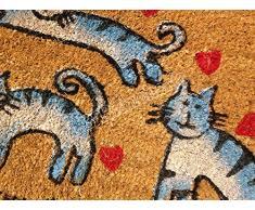 """Lovely Home - Zerbino tappeto in cocco colorato """"Gattini"""" - Fondo antiscivolo - cm 40x70"""