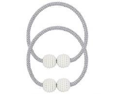 Pinowu - Confezione da 2 fermatenda magnetici, per Tende Piccole, Sottili o velate Fermatenda: Grigio.