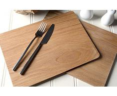 Creative Tops - Set da 4 tovagliette con dorso in legno di quercia