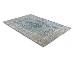LIFA LIVING Tappeti da Salotto Moderno in ciniglia, Tappeto di Design con Motivo Vintage (Azzurro Grigio, 80 x 150 cm)