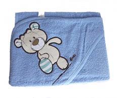 NICI Theodor & Friends - Telo da bagno con cappuccio, 75 x 75 cm, 100% cotone, per neonati e bambini a partire da 0 mesi, colore: blu