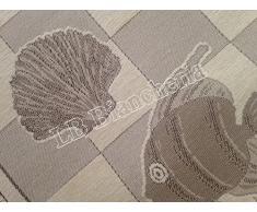 """By Suardi - Tappeto arredo Passatoia Bagno Cucina """"Marino"""" Shabby Chic Moderno in ciniglia cm 55x115 Made in Italy, BEIGE"""