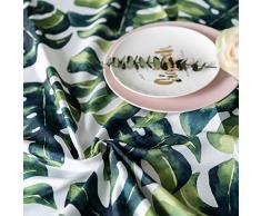 Drizzle Tovaglia Monstera Piante Verdi Palma Foglia Tavolo Panno Cucina Soggiorno Rettangolare Piazza Idrorepellente Cotone Poliestere (55 * 70in/140 * 180cm)