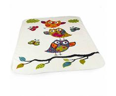 Coperta Per Bambini Graziosi Gufi Coperta Morbida Coperta Da Gioco Crema, Dimensione:155x215 cm