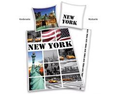 Herding 445948050 - Biancheria da letto, motivo New York, copripiumino 135 x 200 cm e federa 80 x 80 cm, 100% cotone Renforcé