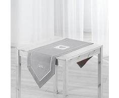 Eminza Runner da tavolo, 150 cm Amandine, ricamata, colore: grigio