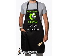 """Grembiule nero con pettorina e tasca:"""" Attenzione superPapà ai fornelli"""" by tshirteria"""