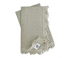 Linen & Cotton Set di 4 Tovaglioli In Stoffa CELESTE,100% Lino - Beige/Naturale (39 x 39cm)