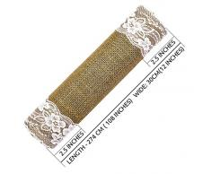 SweetNeedle - Juta premium da 2 paia con runner da tavola in pizzo 30 CM x 274 CM (12 INx108 IN) in colore naturale - Accessorio perfetto per vestire la tua tavola - Eco-Friendly - Solo Spot Clean