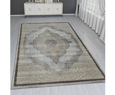 Paco Home Tappeto Orientale Moderno Effetto 3D Ornamenti Mélange Oro Grigio Brillante, Dimensione:120x170 cm