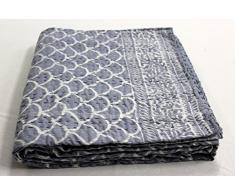 India Hand Block Print kantha letto copertura del Rajasthan vintage kantha Quilt, copriletto matrimoniale, coperta per letto