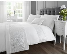 Set di biancheria da letto, moderna e lussuosa, colore bianco con paillettes, copripiumino matrimoniale e 2 federe.