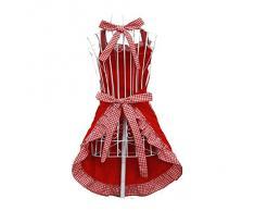 Sonline Grembiule Cotone Moda Bella principessa stile rustico per la moglie Figlie signore (Rosso)