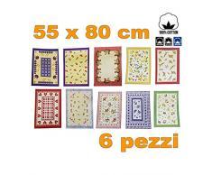 TrAdE Shop Traesio 6 Strofinacci Cotone Fibra Naturale ASCIUGAPIATTI ASCIUGA Piatti CANOVACCIO