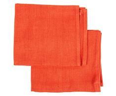 LinenMe 33 x 50 cm set di 2 asciugamani, uno da mani e uno per ospiti, in lino Lara, arancione