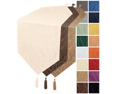Runner con strisce di damasco, biancheria da tavola #1144, Poliestere, marrone, ca. 30x200 cm